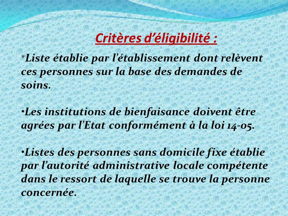 Critères d'éligibilité :