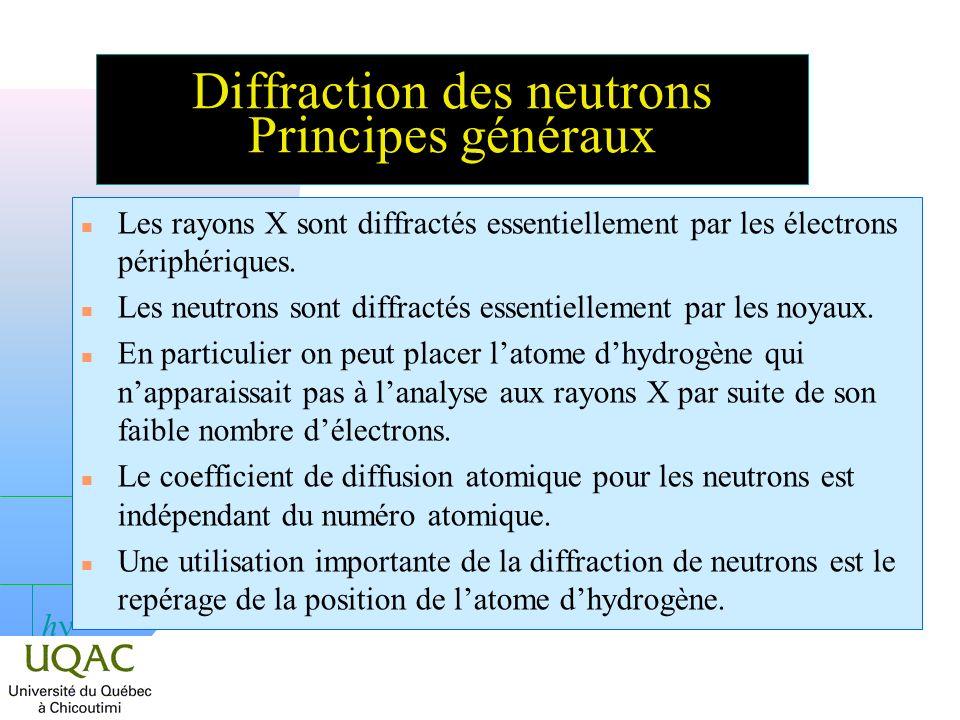 Diffraction des neutrons Principes généraux