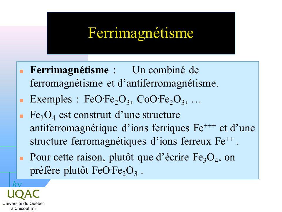 Ferrimagnétisme Ferrimagnétisme : Un combiné de ferromagnétisme et d'antiferromagnétisme. Exemples : FeO.Fe2O3, CoO.Fe2O3, …