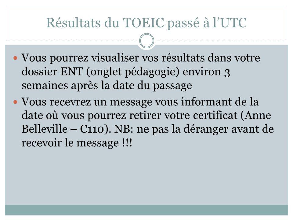 Résultats du TOEIC passé à l'UTC