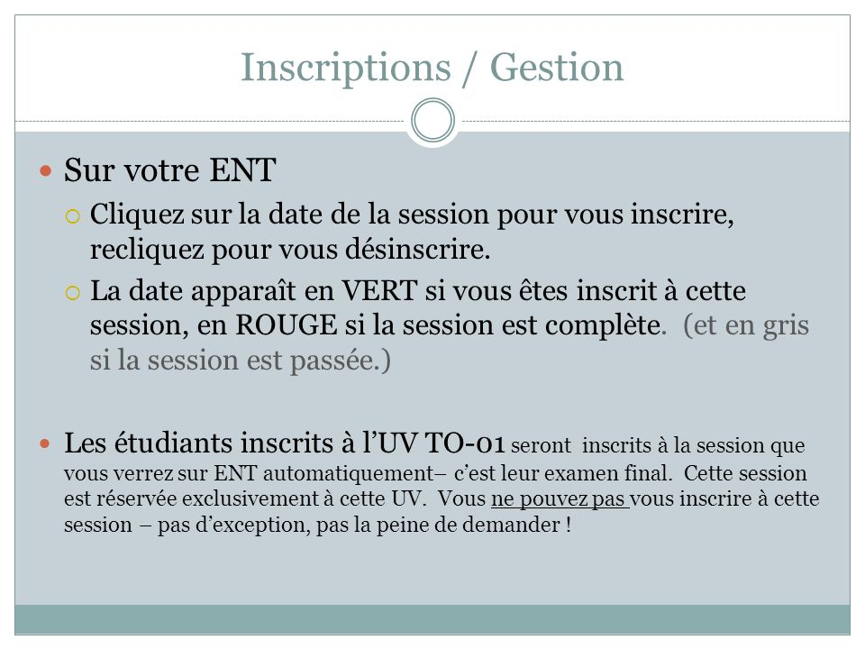 Inscriptions / Gestion