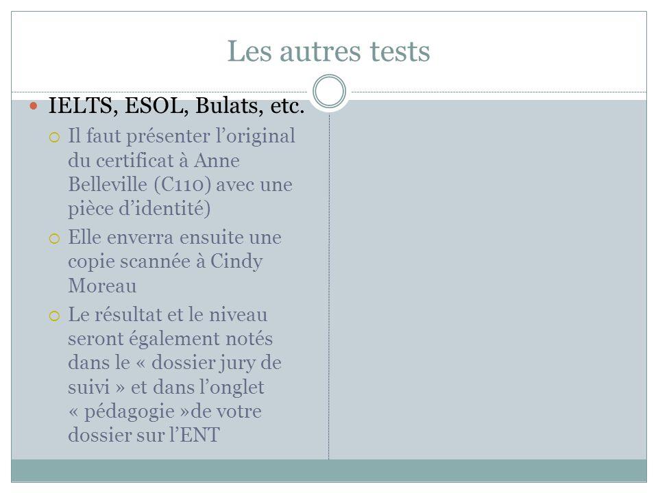 Les autres tests IELTS, ESOL, Bulats, etc.