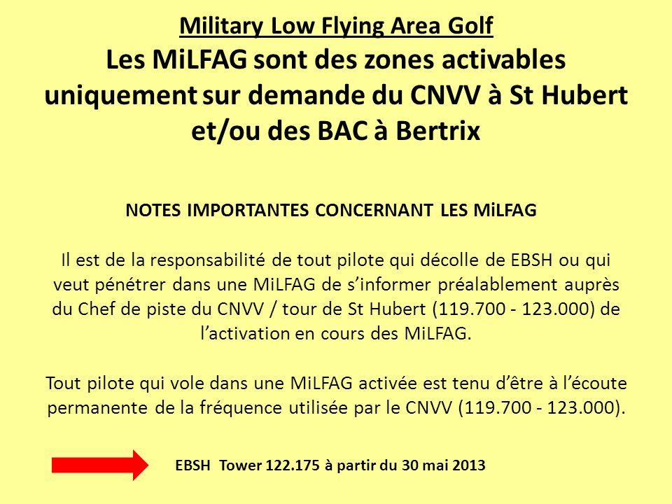 Military Low Flying Area Golf Les MiLFAG sont des zones activables uniquement sur demande du CNVV à St Hubert et/ou des BAC à Bertrix NOTES IMPORTANTES CONCERNANT LES MiLFAG Il est de la responsabilité de tout pilote qui décolle de EBSH ou qui veut pénétrer dans une MiLFAG de s'informer préalablement auprès du Chef de piste du CNVV / tour de St Hubert (119.700 - 123.000) de l'activation en cours des MiLFAG. Tout pilote qui vole dans une MiLFAG activée est tenu d'être à l'écoute permanente de la fréquence utilisée par le CNVV (119.700 - 123.000).