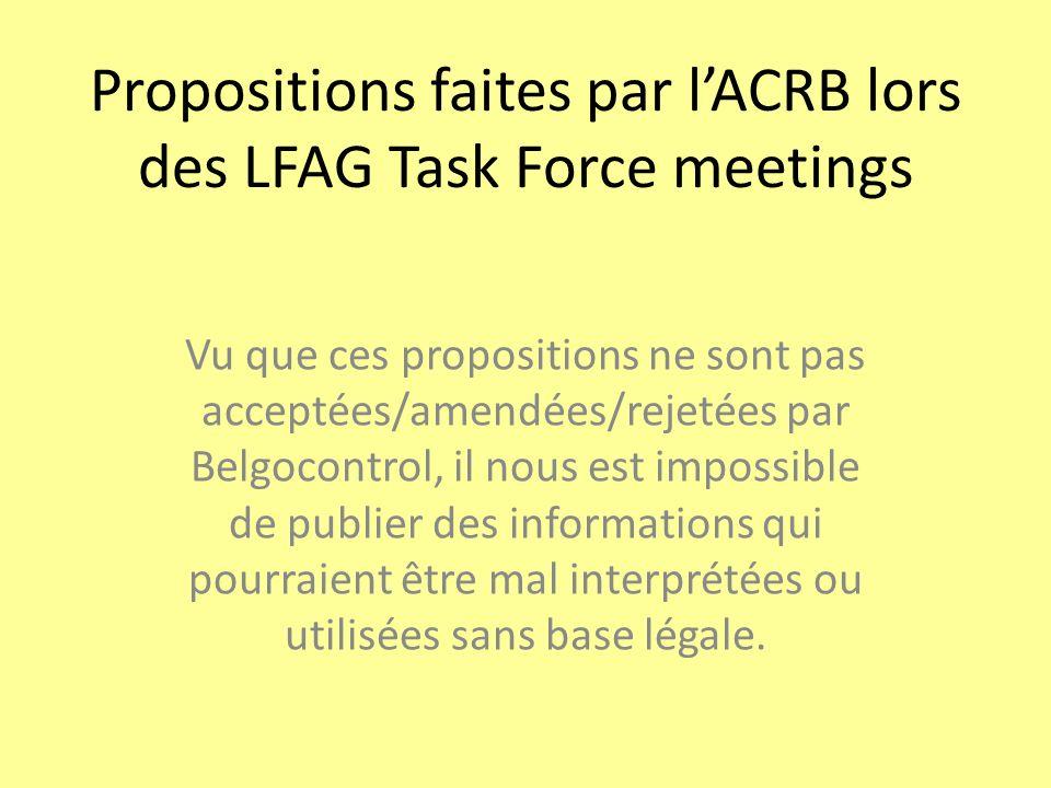 Propositions faites par l'ACRB lors des LFAG Task Force meetings