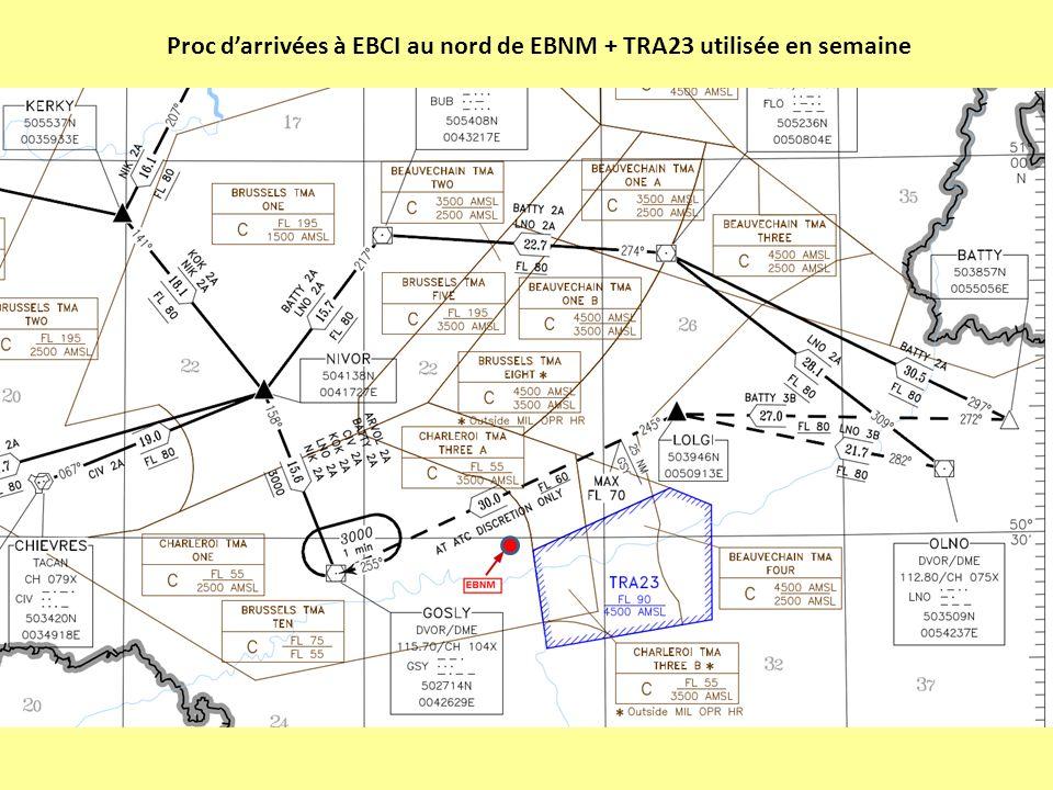 Proc d'arrivées à EBCI au nord de EBNM + TRA23 utilisée en semaine