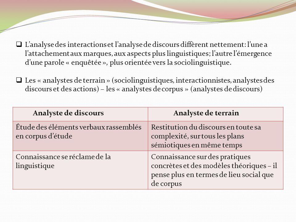 L'analyse des interactions et l'analyse de discours diffèrent nettement: l'une a l'attachement aux marques, aux aspects plus linguistiques; l'autre l'émergence d'une parole « enquêtée », plus orientée vers la sociolinguistique.