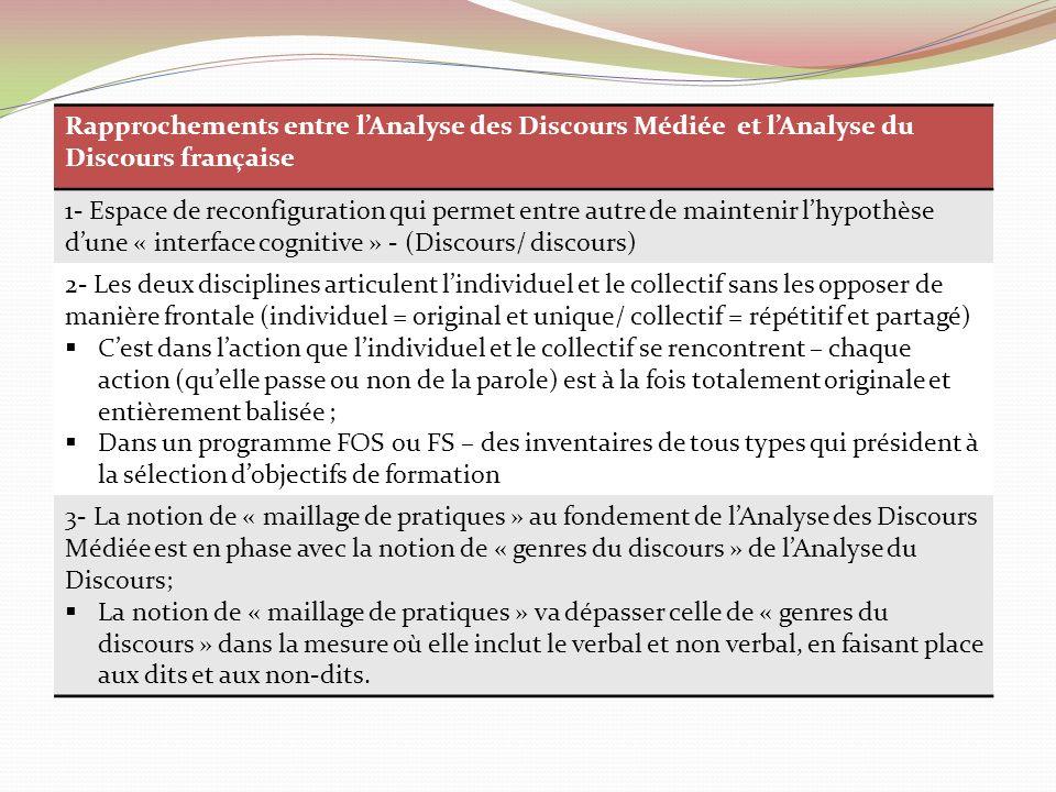 Rapprochements entre l'Analyse des Discours Médiée et l'Analyse du Discours française