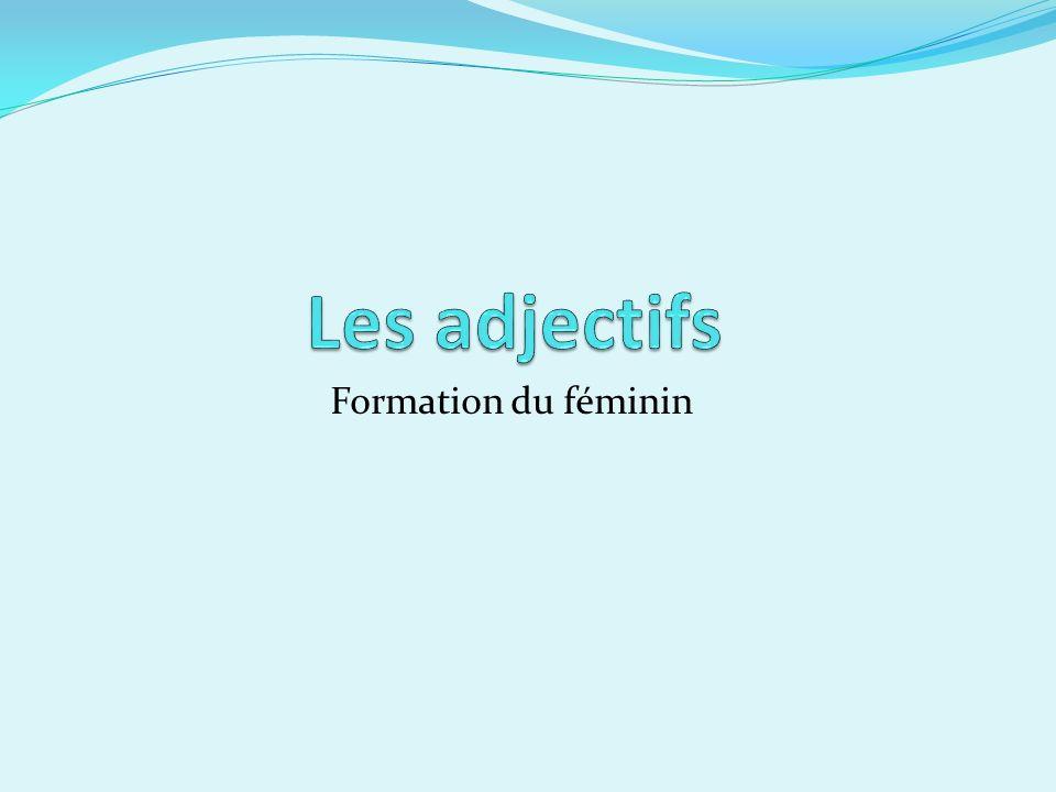 Les adjectifs Formation du féminin
