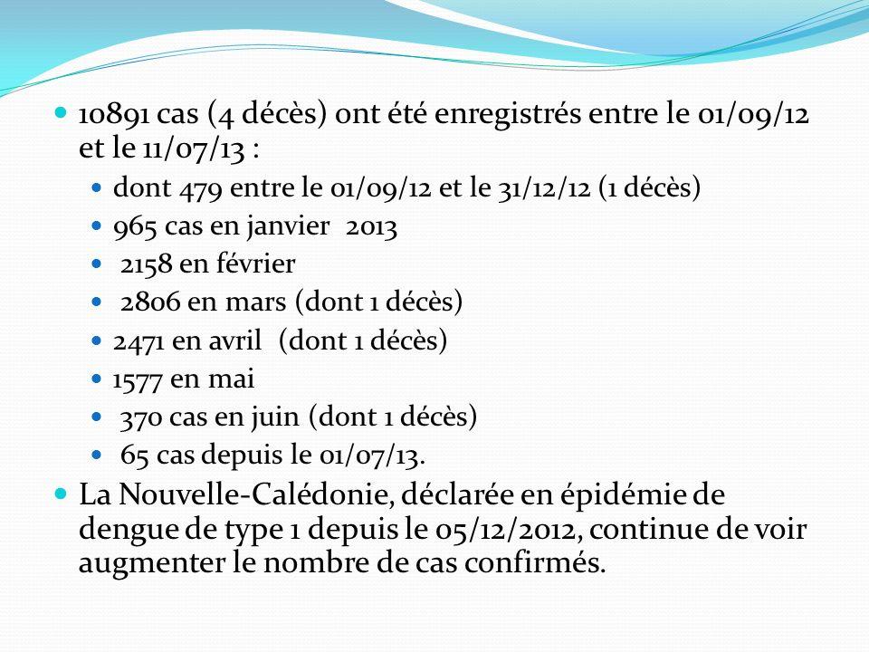 10891 cas (4 décès) ont été enregistrés entre le 01/09/12 et le 11/07/13 :