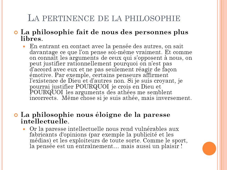 La pertinence de la philosophie