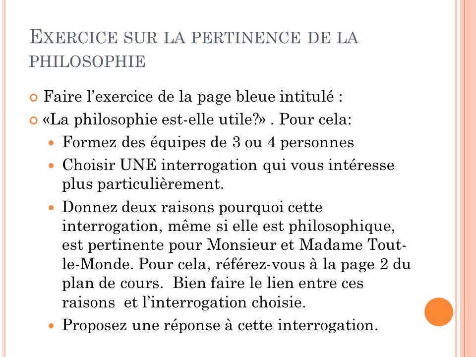 Exercice sur la pertinence de la philosophie