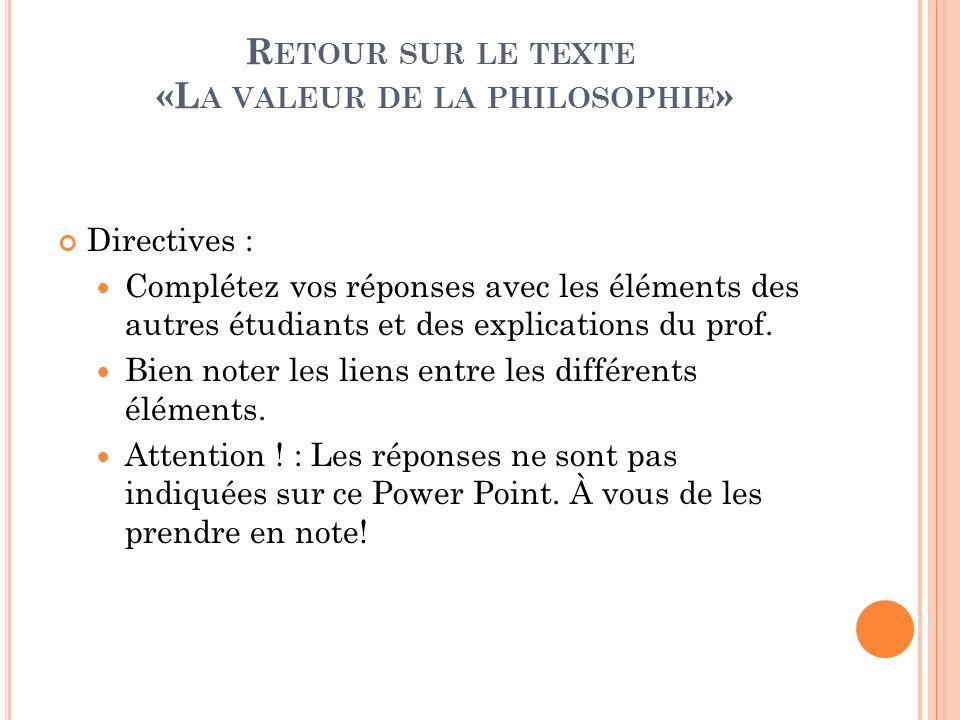 Retour sur le texte «La valeur de la philosophie»
