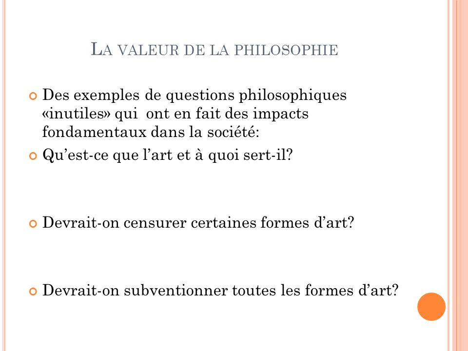 La valeur de la philosophie