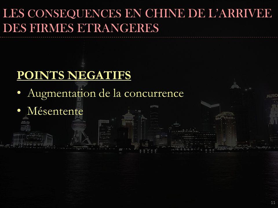 LES CONSEQUENCES EN CHINE DE L'ARRIVEE DES FIRMES ETRANGERES