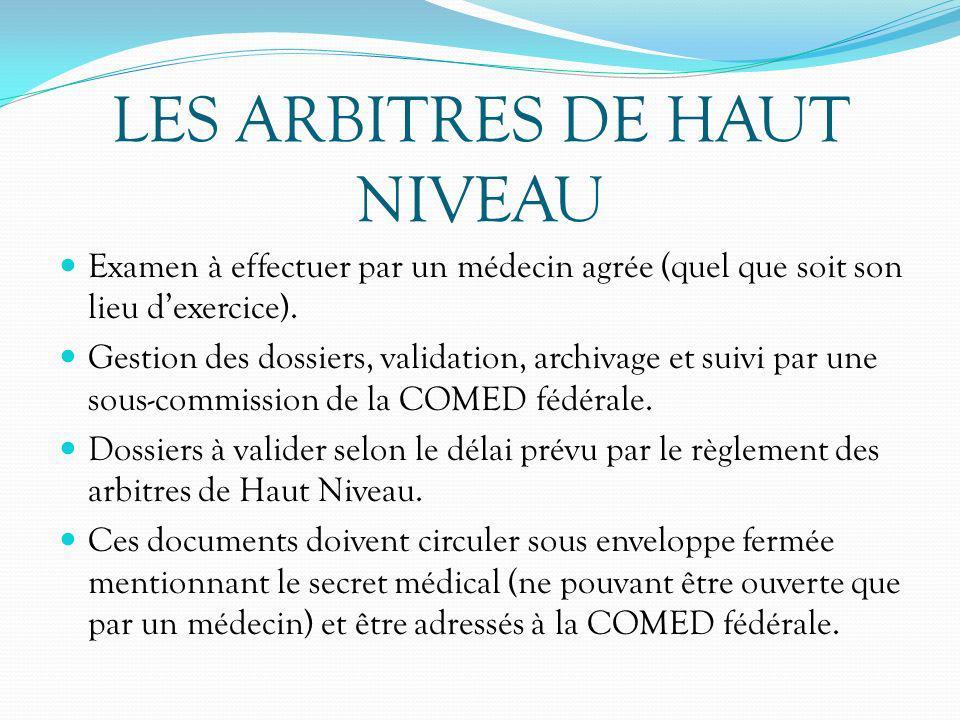 LES ARBITRES DE HAUT NIVEAU