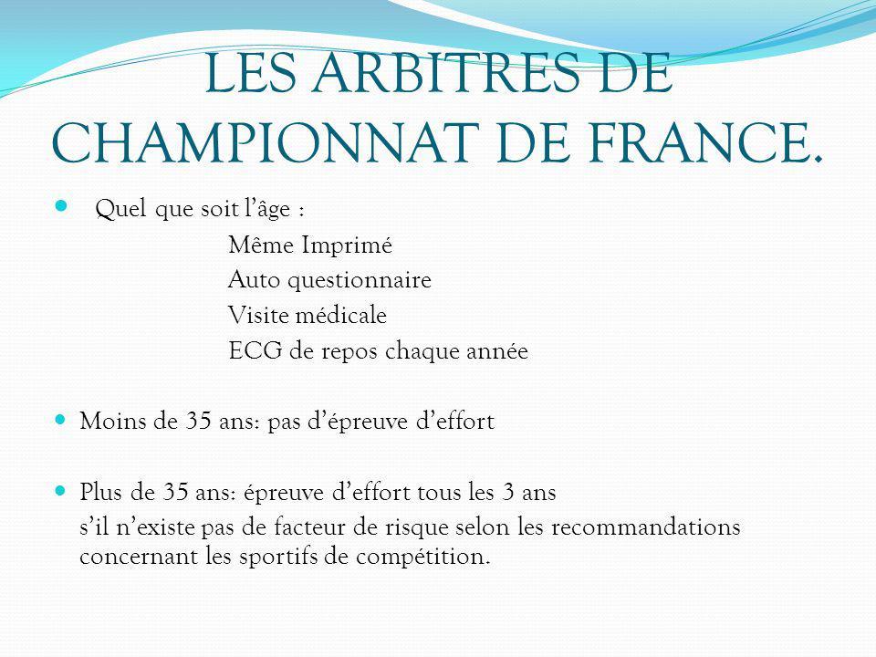 LES ARBITRES DE CHAMPIONNAT DE FRANCE.