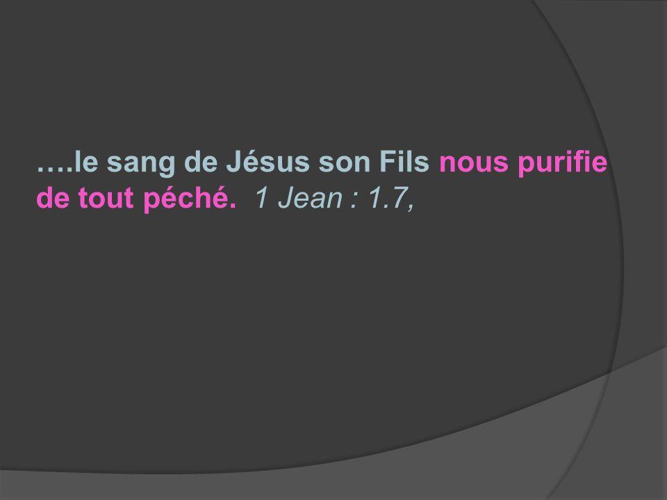 ….le sang de Jésus son Fils nous purifie de tout péché. 1 Jean : 1.7,