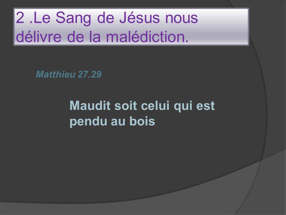 2 .Le Sang de Jésus nous délivre de la malédiction.