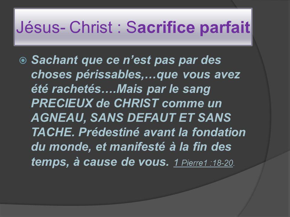 Jésus- Christ : Sacrifice parfait