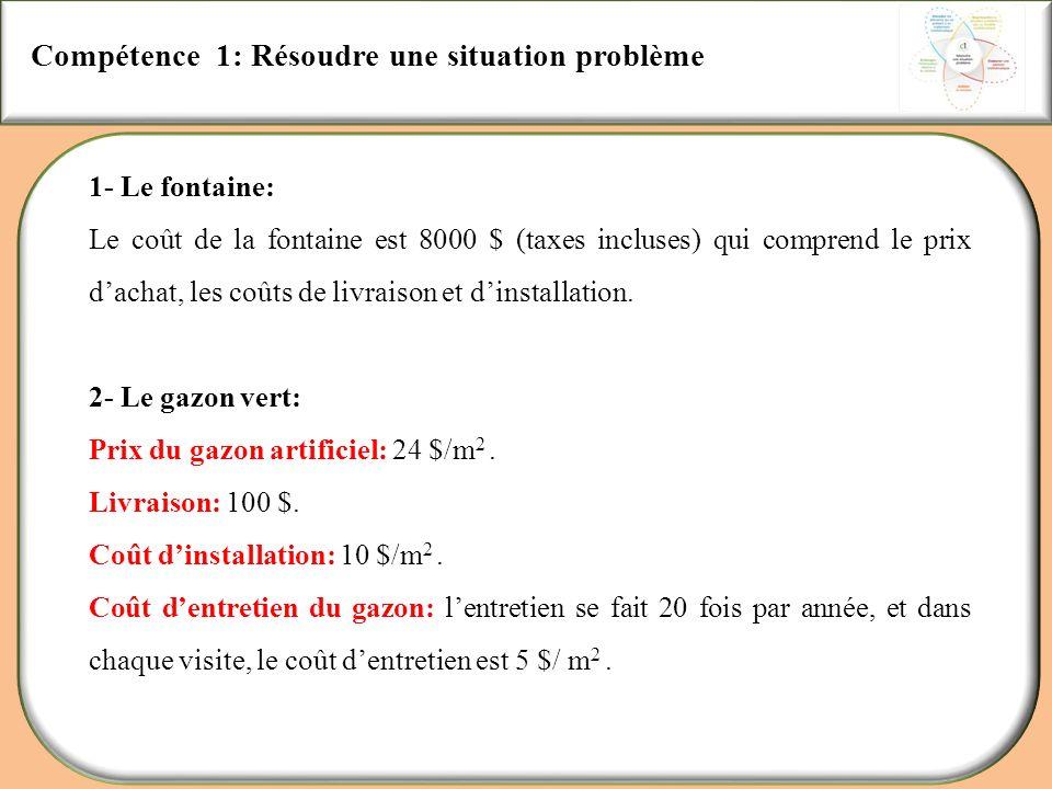 Compétence 1: Résoudre une situation problème
