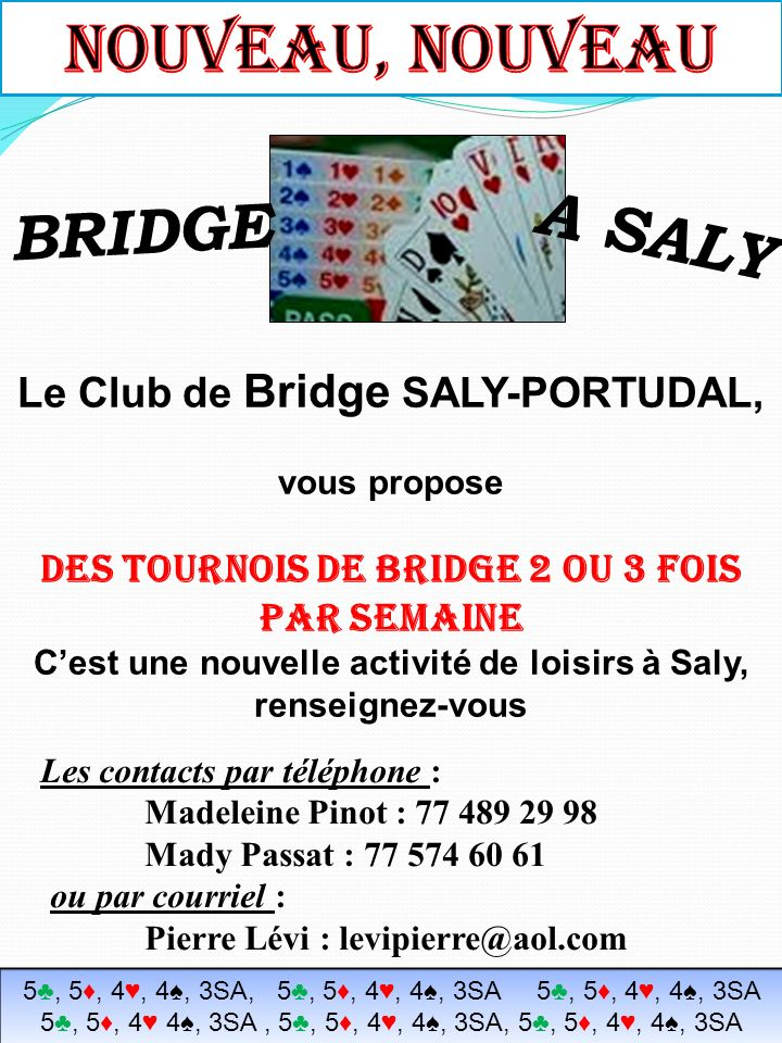 NOUVEAU, NOUVEAU A SALY BRIDGE Le Club de Bridge SALY-PORTUDAL,