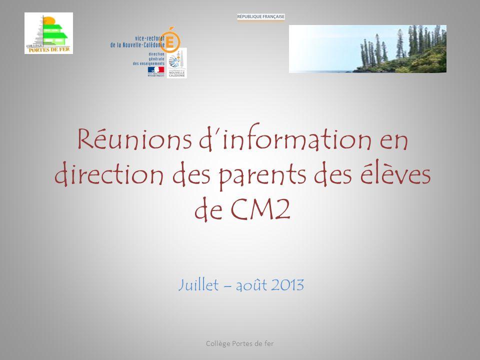 Réunions d'information en direction des parents des élèves de CM2