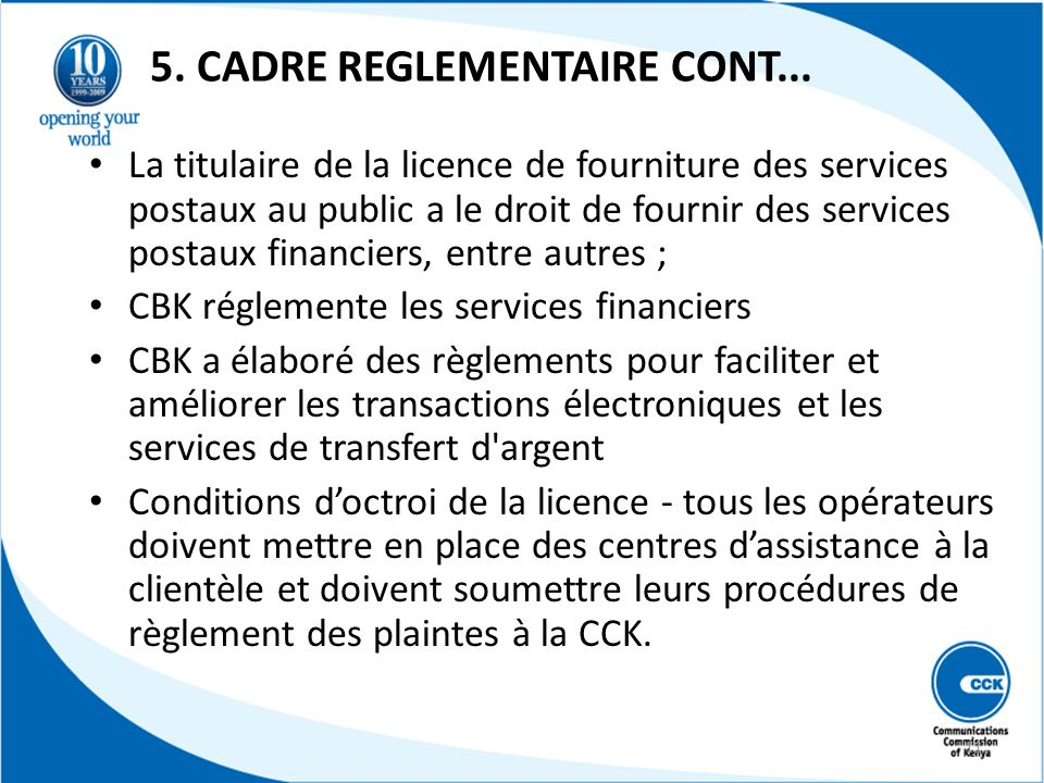 5. CADRE REGLEMENTAIRE CONT...