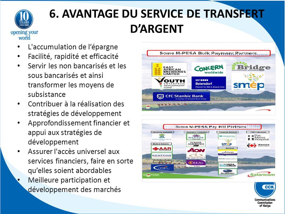 6. AVANTAGE DU SERVICE DE TRANSFERT D'ARGENT
