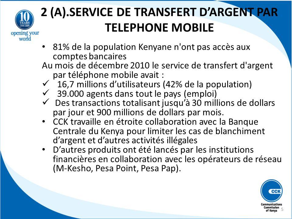 2 (A).SERVICE DE TRANSFERT D'ARGENT PAR TELEPHONE MOBILE