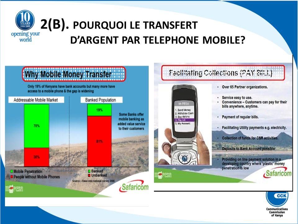 2(B). POURQUOI LE TRANSFERT D'ARGENT PAR TELEPHONE MOBILE