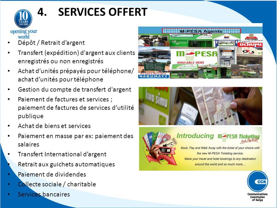 4. SERVICES OFFERT Dépôt / Retrait d'argent