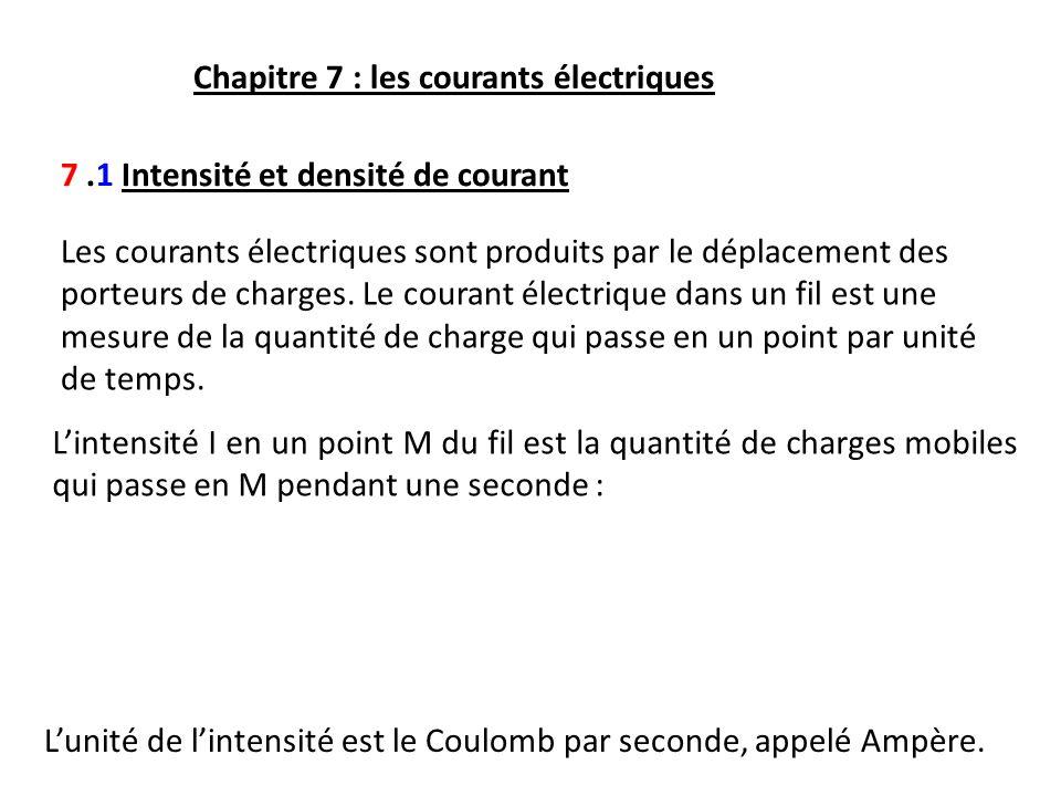 Chapitre 7 : les courants électriques