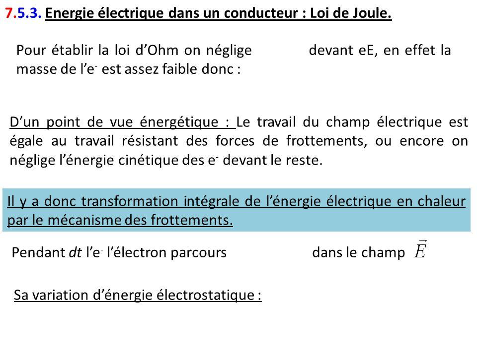 7.5.3. Energie électrique dans un conducteur : Loi de Joule.