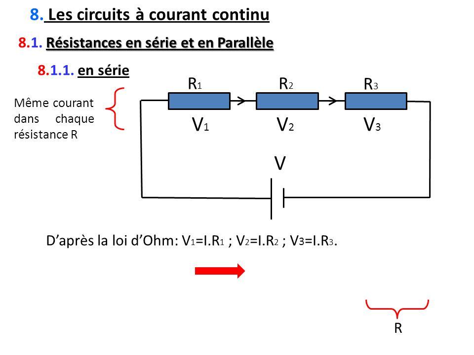 V V1 V2 V3 8. Les circuits à courant continu R1 R2 R3