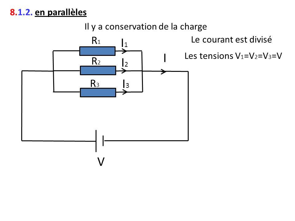 I1 I I2 I3 V R1 R2 R3 8.1.2. en parallèles