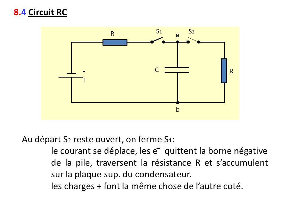 - 8.4 Circuit RC Au départ S2 reste ouvert, on ferme S1: