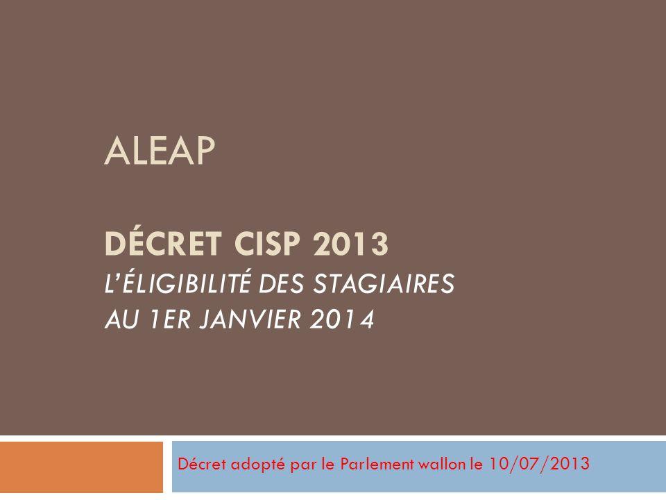 Décret adopté par le Parlement wallon le 10/07/2013