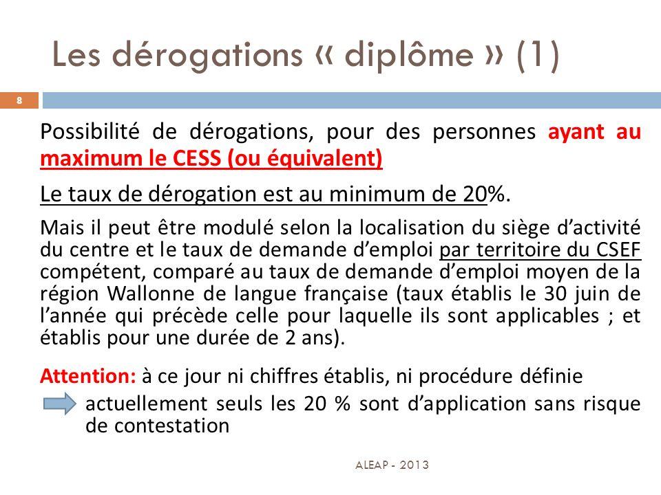 Les dérogations « diplôme » (1)