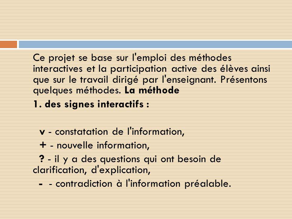 1. des signes interactifs : v - constatation de l information,