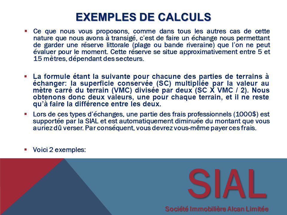 SIAL Exemples de calculs