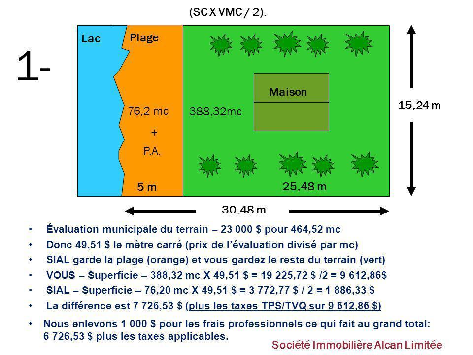 1- (SC X VMC / 2). Lac Plage 76,2 mc Maison 15,24 m 388,32mc + P.A.
