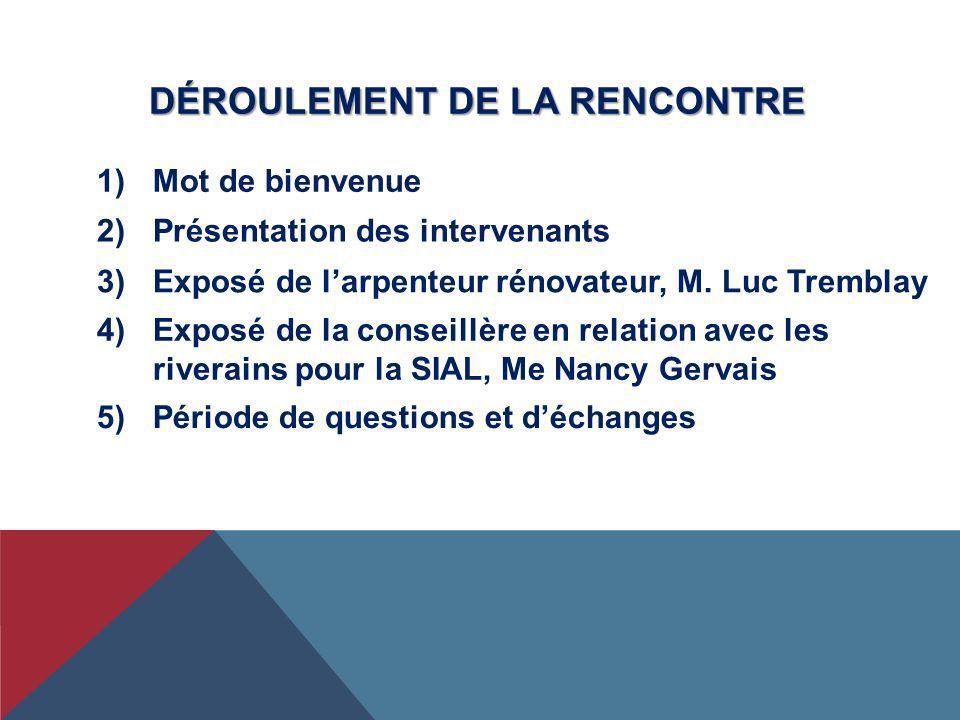 DÉROULEMENT DE LA RENCONTRE