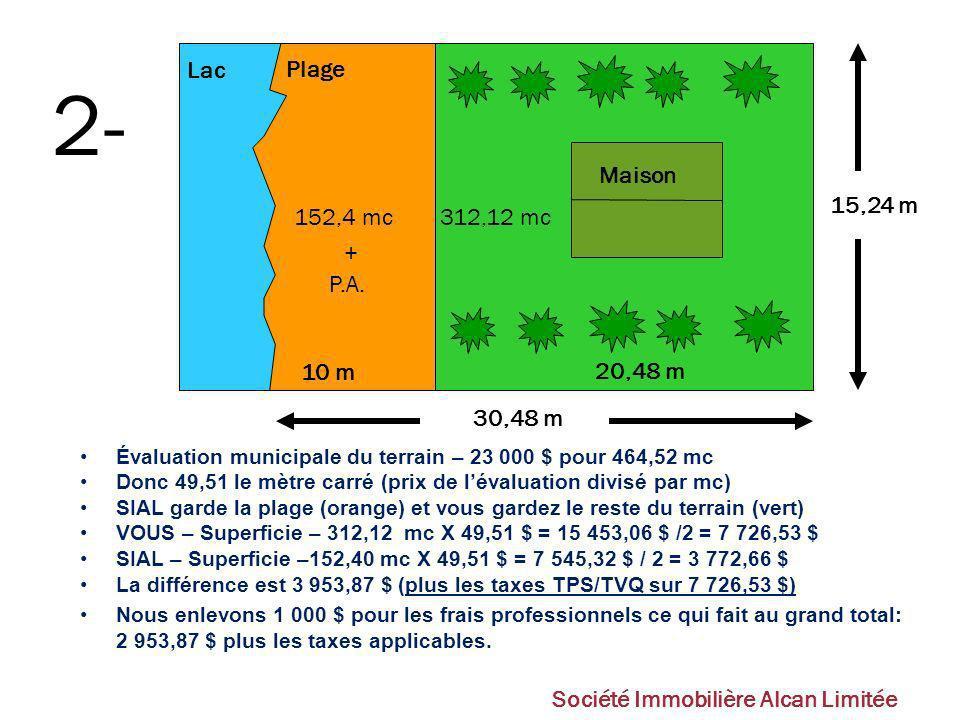 2- 312,12 mc 152,4 mc Lac Plage Maison 30,48 m 15,24 m 10 m 20,48 m +