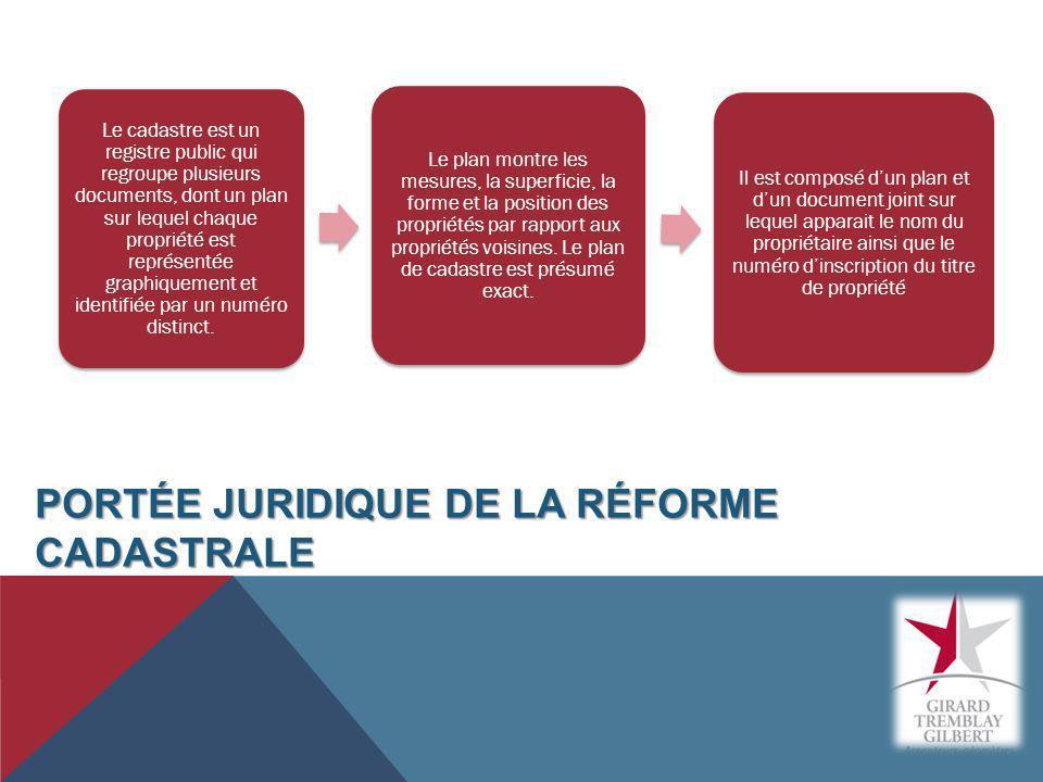 Portée juridique de la réforme cadastrale