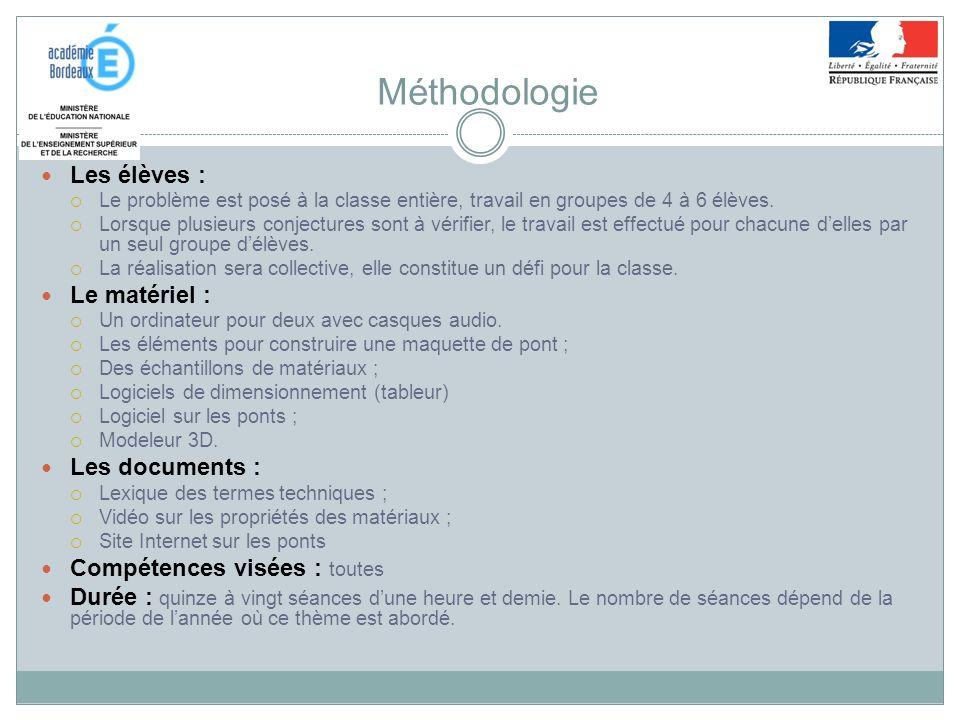 Méthodologie Les élèves : Le matériel : Les documents :