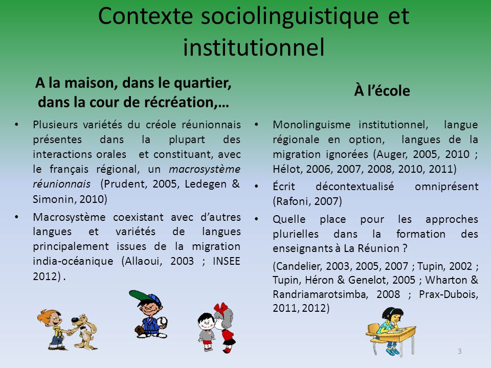 Contexte sociolinguistique et institutionnel