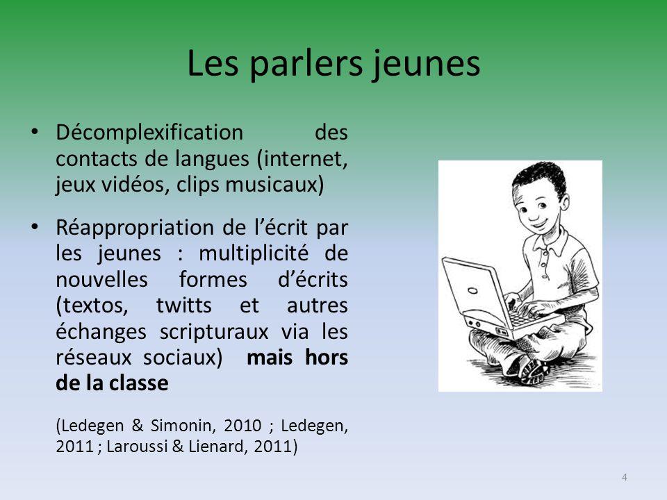 Les parlers jeunes Décomplexification des contacts de langues (internet, jeux vidéos, clips musicaux)