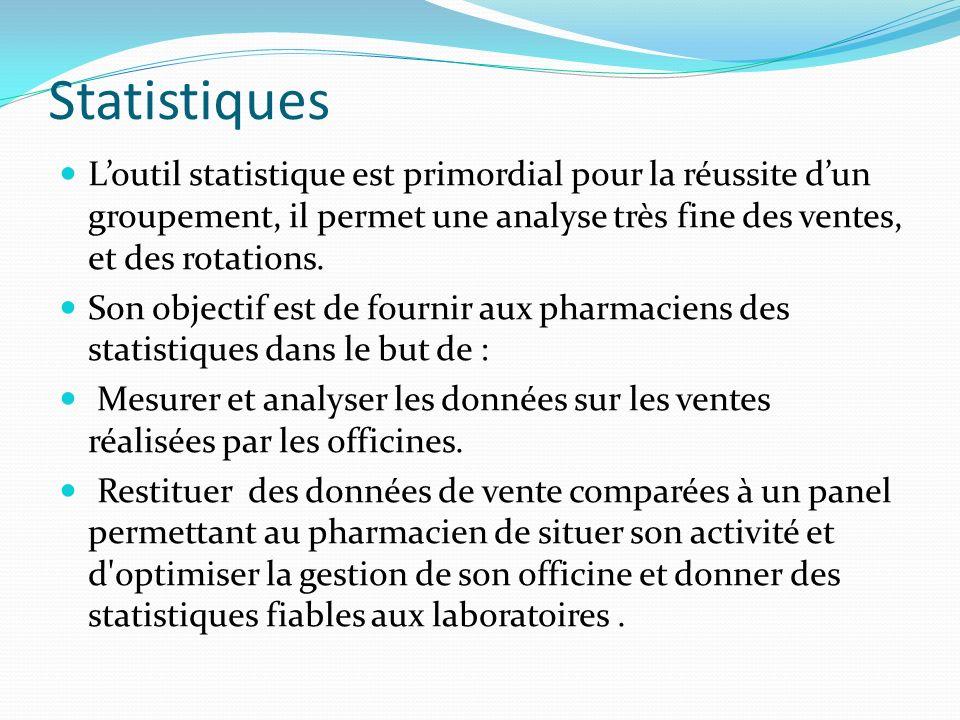Statistiques L'outil statistique est primordial pour la réussite d'un groupement, il permet une analyse très fine des ventes, et des rotations.