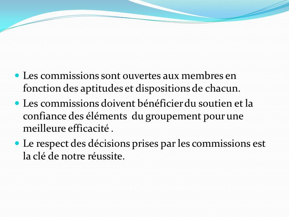 Les commissions sont ouvertes aux membres en fonction des aptitudes et dispositions de chacun.