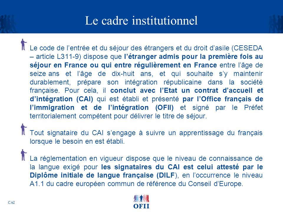 Le contrat d accueil et d int gration ppt video online - L office francais de l immigration et de l integration ...